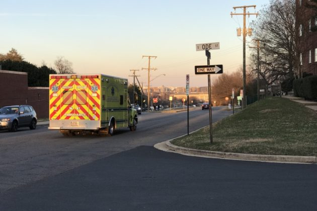 Ambulances leaving hazmat situation at Henderson Hall