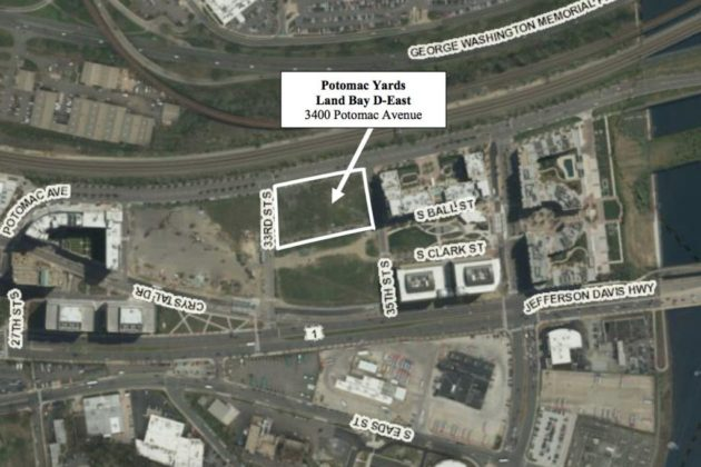 Location of new apartment building under construction at Potomac Yard