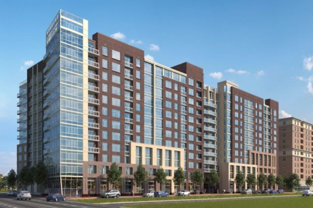 Rendering of new apartment building under construction at Potomac Yard