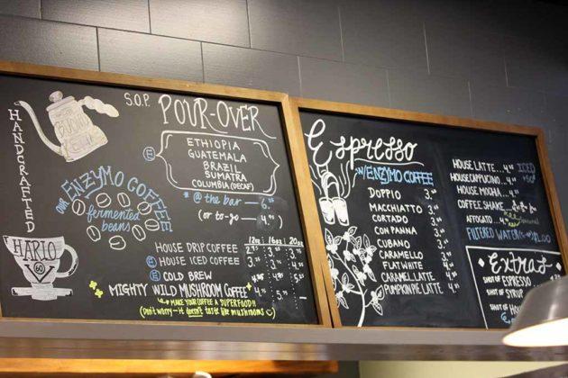 The menu at Sense of Place cafe