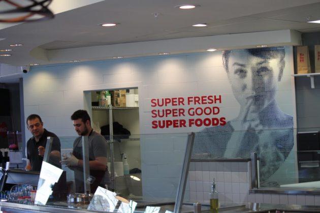 Interior and food counter at Badaro