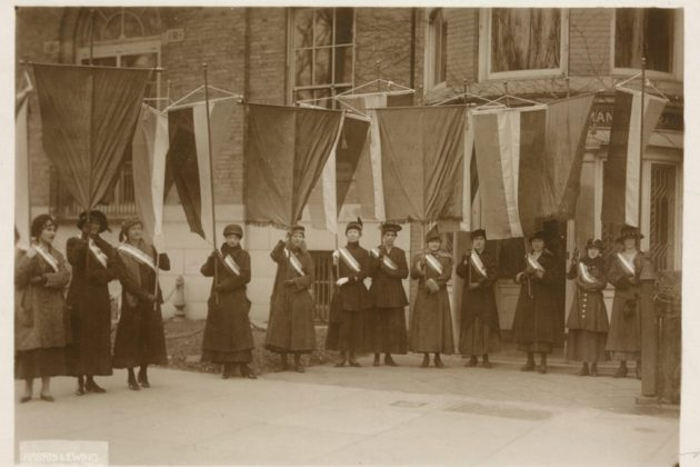 Suffragette picket line (courtesy Center for Local History)