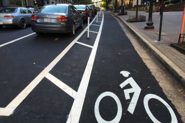 Existing protected bike lane in Rosslyn
