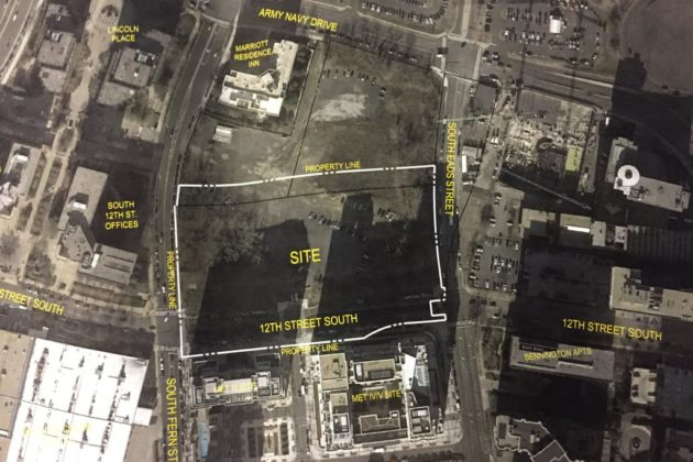 An overview of the proposed PenPlace site, which is almost adjacent to the Pentagon City mall