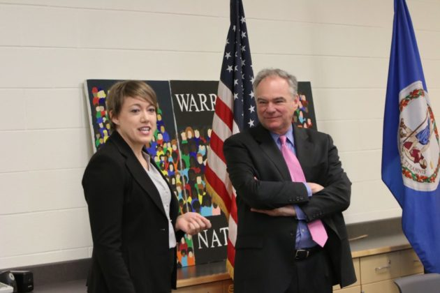 Virginia Teacher of the Year Michelle Cottrell-Williams with Sen. Tim Kaine
