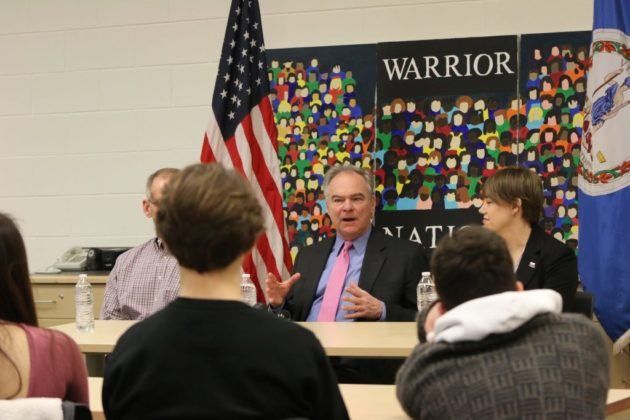 Sen. Tim Kaine talking about gun control and mental health solutions at Wakefield High School