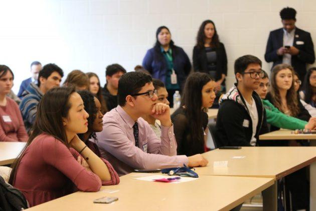 Wakefield High School students listening to Sen. Tim Kaine
