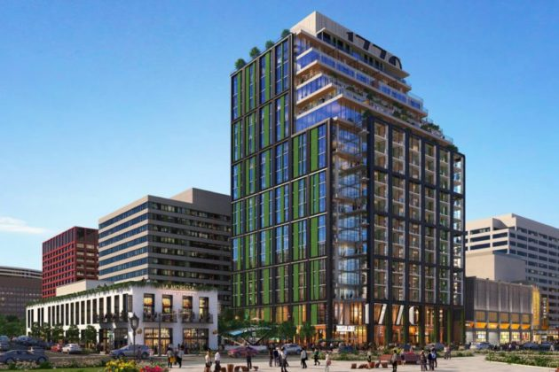 A rendering of an office building to residential highrise conversion (Photo via Arlington County)