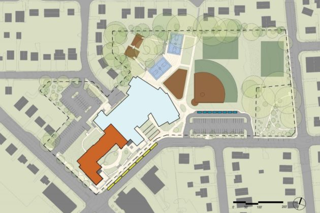 New elementary school design concept, outlined in orange and blue (via Arlington Public Schools)