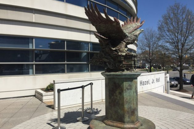 Bill of Rights Eagle near the GMU shrubbery fire
