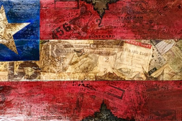 FL mixed media artist Ana Jones uses layered, historic papers on recycled wood to craft classic Americana art