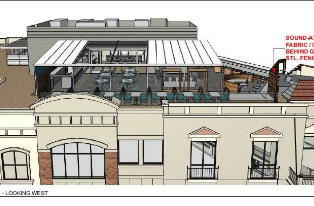 A rendering of the proposed Buena Vida rooftop bar (via Arlington County)