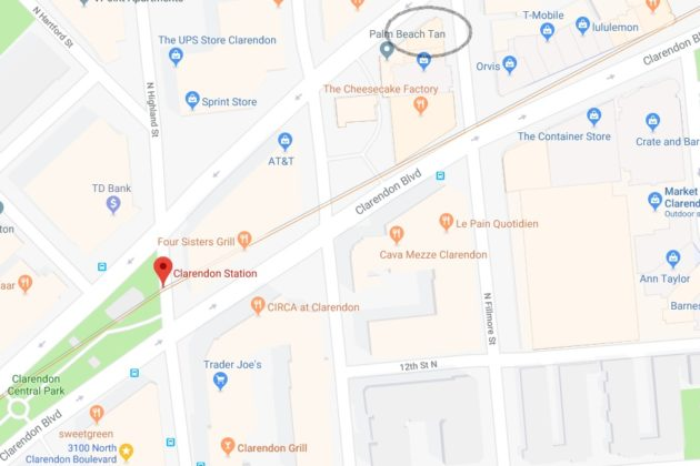 The site is in close proximity to Clarendon Metro station (via Google Maps)