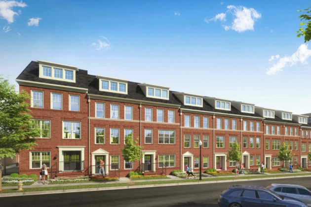 Rendering of townhouses at former Red Cross site (via Arlington County)