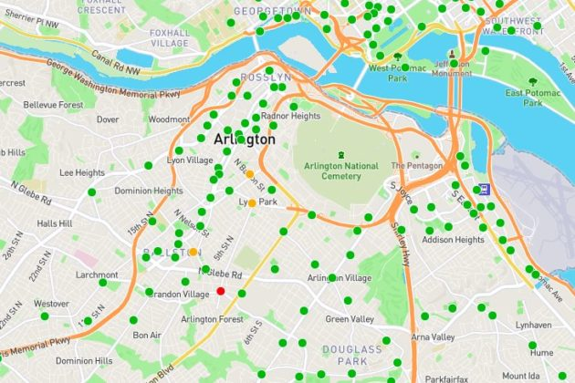 Arlington's Capital Bikeshare locations and those in the surrounding area (via Capital Bikeshare)