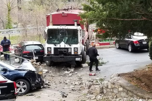 Trash truck smashes into cars in parking lot near Rosslyn (photo courtesy ACFD)