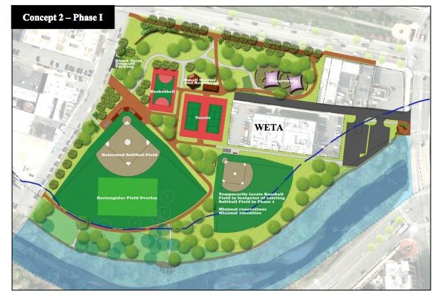 Jennie Dean Park rendering, with field alignments rejected by the County Board