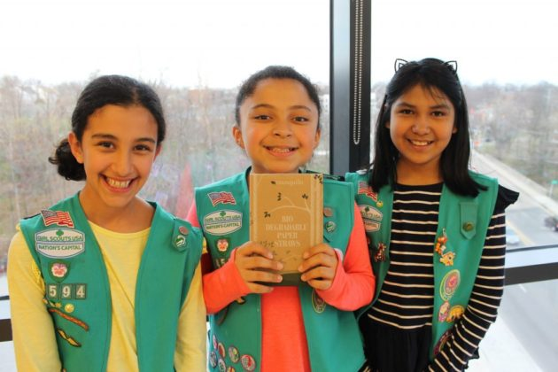 Girl Scouts with some of the donated straws