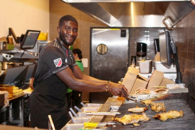 DC United's Kofi Opare practices grilling at Nando's (courtesy photo)
