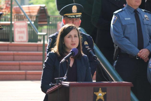 Arlington County Board Chair Katie Cristol address the crowd.