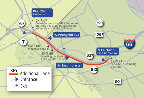 VDOT's widening plans for Interstate 66 eastbound, inside the Beltway (photo via VDOT)