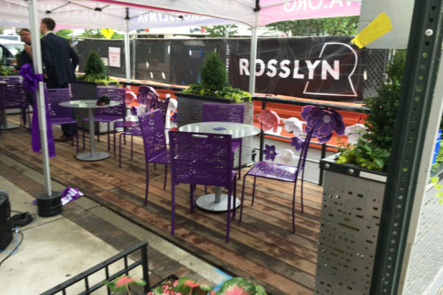 """Rosslyn's """"parklet,"""" at the intersection of N. Oak Street and Wilson Blvd. (photo by Alex Koma)"""