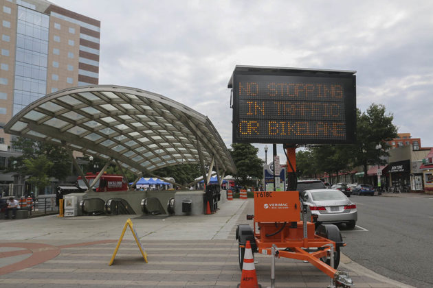 Electronic sign advising drivers of police enforcement in Clarendon