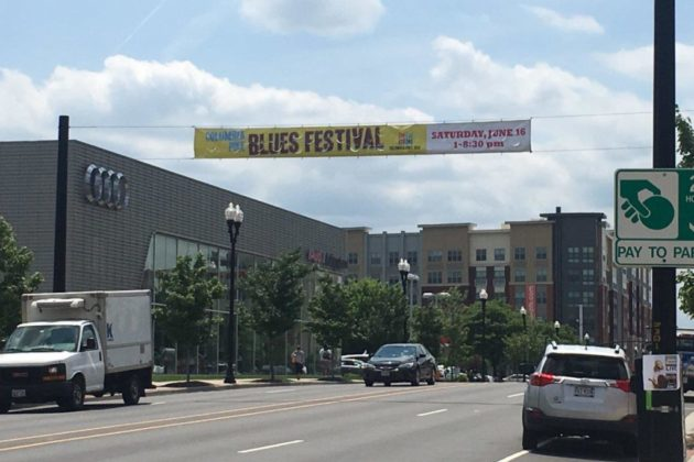 A banner advertising the Columbia Pike Blues Festival (photo courtesy of Michael Garcia)