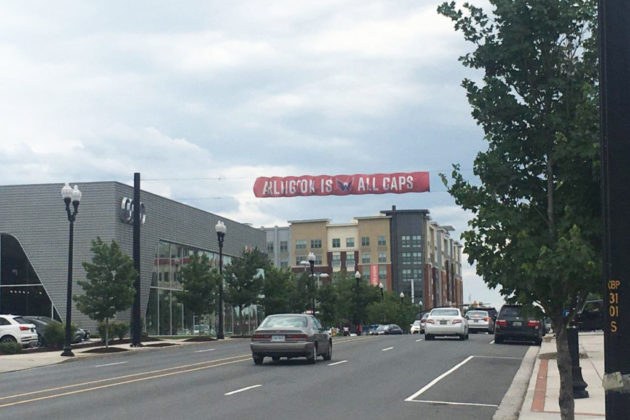 A Washington Capitals banner hanging above Columbia Pike (photo courtesy of Michael Garcia)