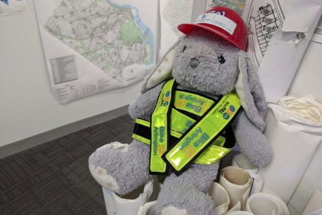 Bunny explores GIS Mapping Center (photo via Twitter)