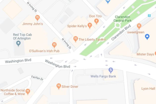 "Map of ""Clarendon Circle"" intersection (via Google Maps)"
