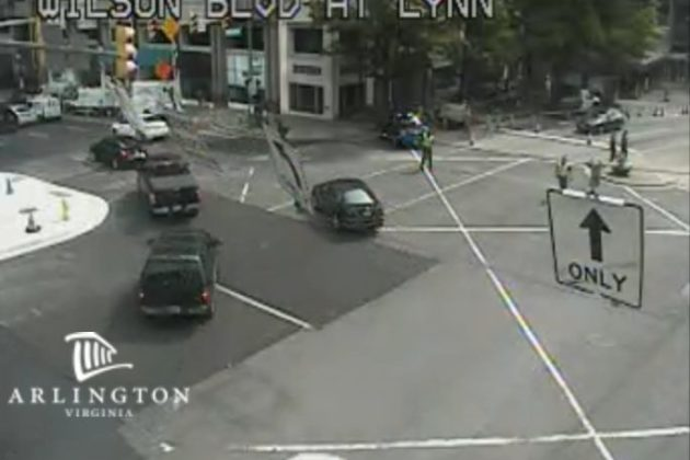 Heavy traffic on Lynn Street in Rosslyn