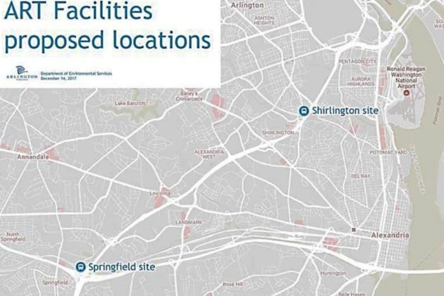 Proposed locations for two new ART facilities (via Arlington County)