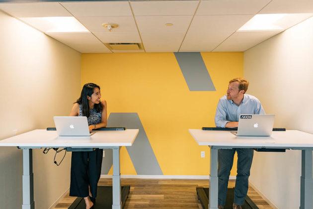 Axios's new office features treadmill desks (photo courtesy Axios)