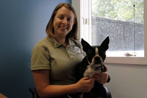 Chief Jennifer Toussaint shares her office with her own rescued dog Reagan