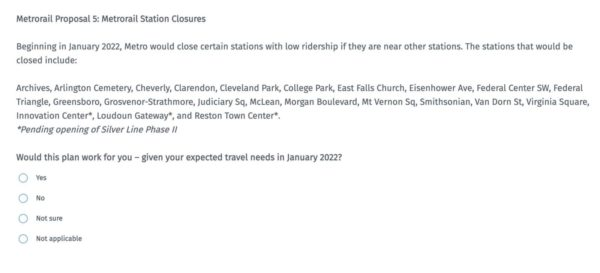 Screenshot of the Metro survey, asking about potential service cuts in 2022 (Photo via Screenshot/Metro press release)