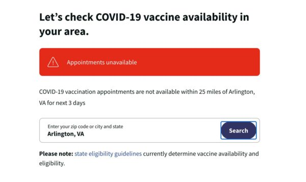 Walgreens vaccine appointment system (Photo via screenshot)