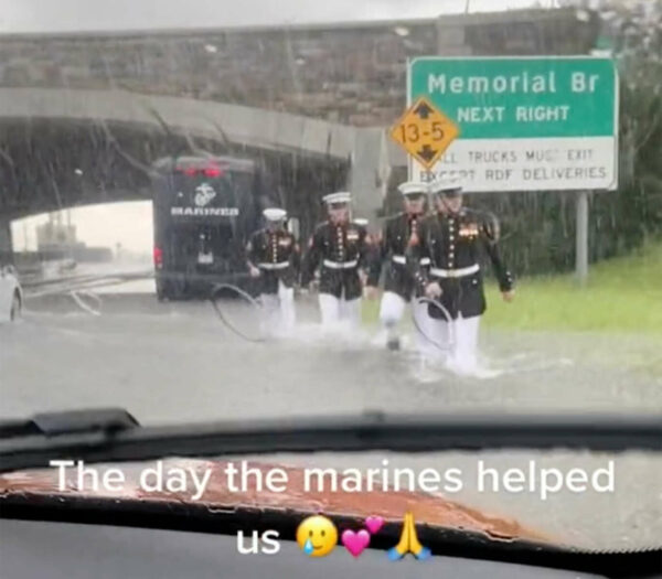 NEW: Viral Video Shows Marines Helping Stranded Driver During Thursday's Flooding